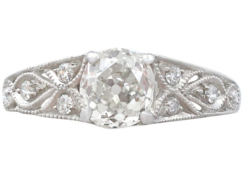 64401b613 Details about Antique and Contemporary 1.18 ct Diamond and Platinum  Solitaire Ring Size M 1/2