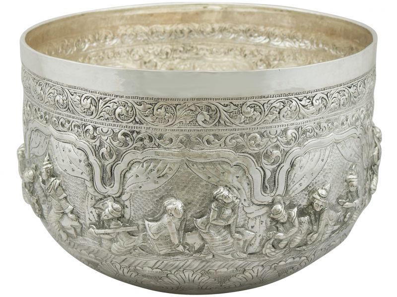 Antiques Lovely Antique Burmese Silver Bowl Circa 1880