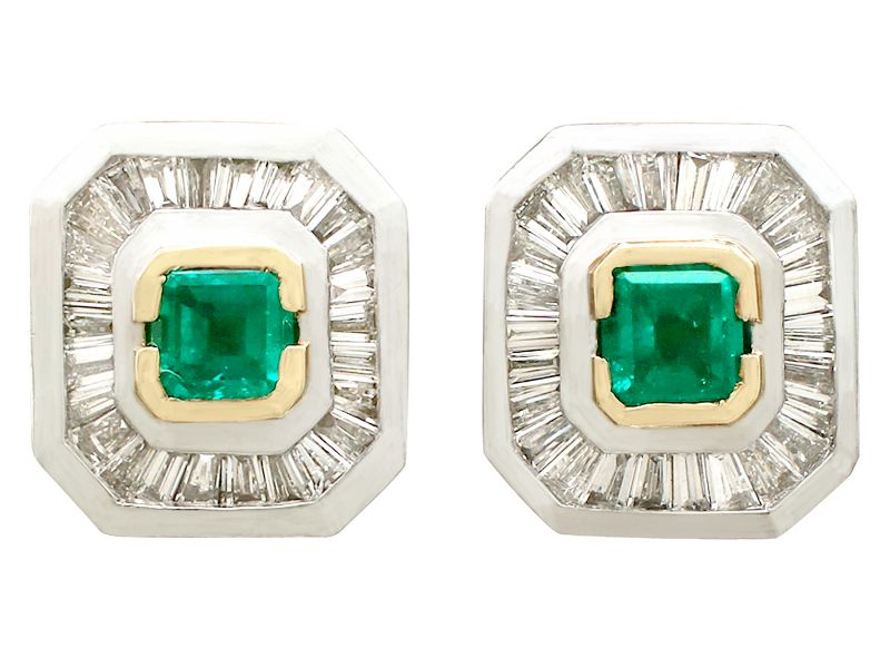 88e1611ed A fine and impressive pair of vintage 0.42 carat natural emerald and 0.63 carat  diamond, platinum and 18 carat yellow gold set Art Deco style earrings; ...