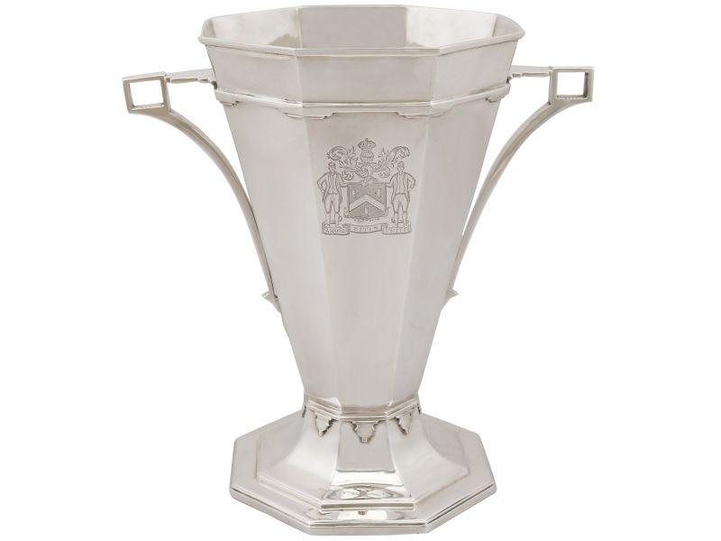 Antique George V Sterling Silver Presentation Trophy Vase Art Deco